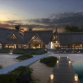 Das 4-Sterne Preskil Island Resort auf Mauritius am Abend.
