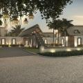 Eingangsbereich am Abend im 4-Sterne Preskil Island Resort auf Mauritius.