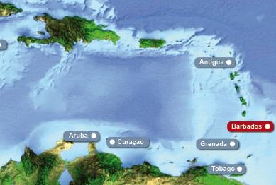 Detailkarte von Karibik mit Hervorhebung von Barbados fuer Heiraten im Ausland.