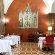 Das Restaurant im 5-Sterne Hotel Due Torri in Verona. Romantische Heirat in Italien.