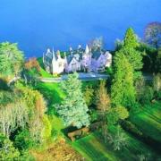 Luftaufnahme des 4-Sterne Bunchrew House Hotel in Inverness in Schottland.