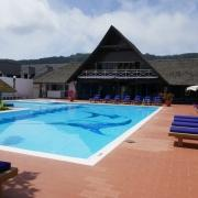 Pool im 3-Sterne plus Hotel La Digue Island Lodge auf den Seychellen.