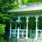 Ausschnittansicht des Ladies Pavillion in New York, ein beliebter Ort zum Heiraten.