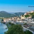 Sehenswürdigkeiten Salzburg, Blick vom Mönchsberg auf die Festung Hohensalzburg und auf die Salzburger Altstadt mit Salzach Copyright ©Tourismus Salzburg