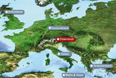 Detailkarte Europa mit hervorgehobenem Oesterreich fuer Hochzeiten im Ausland.
