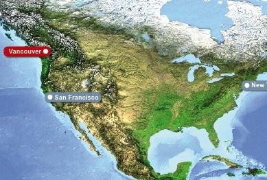 Detailkarte von Vancover der Ort um in Kanada zu heiraten.