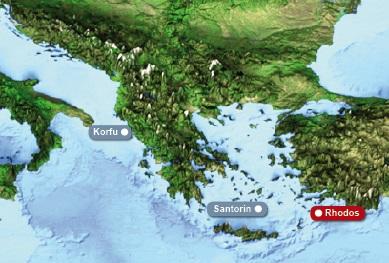 Detailkarte von Griechenland mit Hervorhebung von Rhodos mit dem Amathus Elite Suites und Spafuer Heiraten im Ausland.