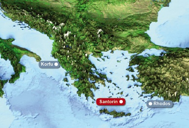 Detailkarte von Griechenland mit Hervorhebung von Santorin und dem Hotel Heliotopos fuer Heiraten im Ausland.