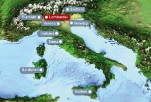 Detailkarte von Italien mit Hervorhebung der Lombardei fuer Heiraten im Ausland.