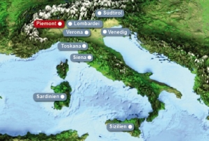 Detailkarte von Italien mit Hervorhebung des Piemont fuer Heiraten im Ausland.