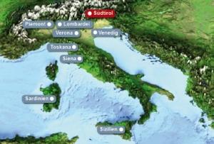 Detailkarte von Italien mit Hervorhebung von Suedtirol fuer Heiraten im Ausland.