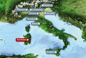 Detailkarte von Italien mit Hervorhebung von Sardinien fuer Heiraten im Ausland.
