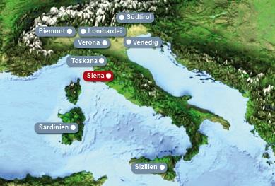 Detailkarte von Italien mit Hervorhebung von Siena fuer Heiraten im Ausland.