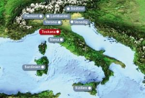 Detailkarte von Italien mit Hervorhebung der Toskana fuer Heiraten im Ausland.