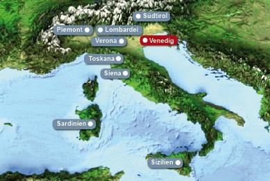 Detailkarte von Italien mit Hervorhebung von Venedig fuer Heiraten im Ausland.