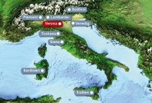 Detailkarte von Italien mit Hervorhebung von Verona fuer Heiraten im Ausland.