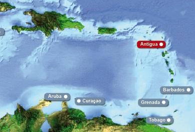 Detailkarte von Karibik mit Hervorhebung von Antigua fuer Heiraten im Ausland.
