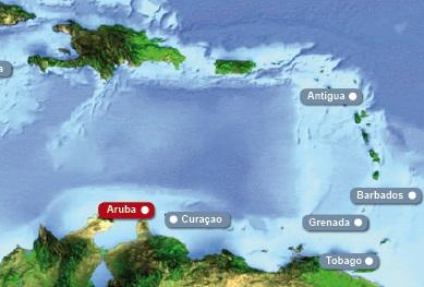 Detailkarte von Karibik mit Hervorhebung von Aruba fuer Heiraten im Ausland.