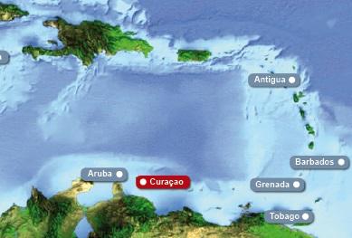Detailkarte von Karibik mit Hervorhebung von Curacao fuer Heiraten im Ausland.