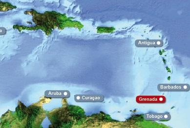 Detailkarte von Karibik mit Hervorhebung von Grenada fuer Heiraten im Ausland.
