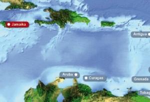 Detailkarte von Karibik mit Hervorhebung von Jamaika fuer Heiraten im Ausland.