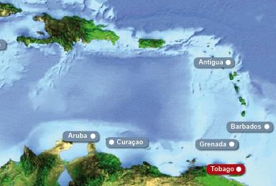 Detailkarte von Karibik mit Hervorhebung von Tobago fuer Heiraten im Ausland.