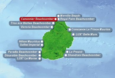 Detailkarte von Mauritius mit Lageangabe Hotel Canonnier Beachcomber Golf Resort und Spa fuer Heiraten im Ausland.