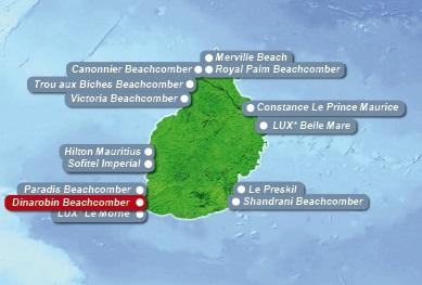 Detailkarte von Mauritius mit Lageangabe Hotel Dinarobin Beachcomber Golf Resort und Spa fuer Heiraten im Ausland.