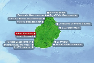 Detailkarte von Mauritius mit Lageangabe Hotel Hilton Mauritius Resort und Spa fuer Heiraten im Ausland.