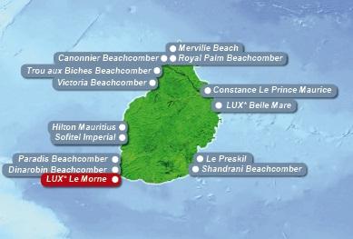 Detailkarte von Mauritius mit Lageangabe Hotel Lux Le Morne fuer Heiraten im Ausland.