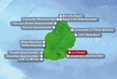 Detailkarte von Mauritius mit Lageangabe Hotel Preskil Island Resort fuer Heiraten im Ausland.
