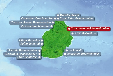 Detailkarte von Mauritius mit Lageangabe Hotel Constance Le Prince Maurice fuer Heiraten im Ausland.