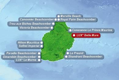 Detailkarte von Mauritius mit Lageangabe Hotel Lux Belle Mare fuer Heiraten im Ausland.