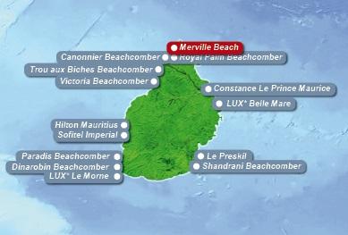Detailkarte von Mauritius mit Lageangabe Hotel Merville Beach fuer Heiraten im Ausland.