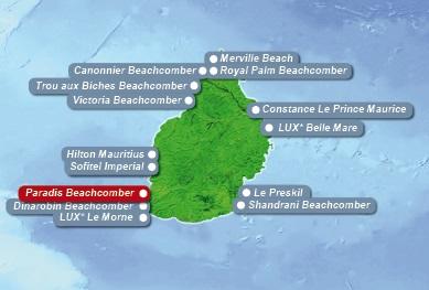 Detailkarte von Mauritius mit Lageangabe Hotel Paradis Beachcomber Golf Resort und Spa fuer Heiraten im Ausland.