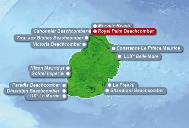 Detailkarte von Mauritius mit Lageangabe Hotel Royal Palm fuer Heiraten im Ausland.