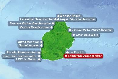 Detailkarte von Mauritius mit Lageangabe Hotel Shandrani Beachcomber fuer Heiraten im Ausland.