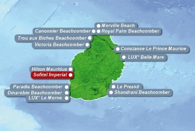 Detailkarte von Mauritius mit Lageangabe Hotel Sofitel Imperial Resort und Spa fuer Heiraten im Ausland.