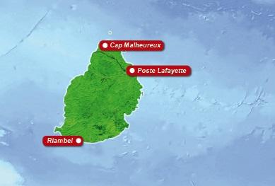 Detailkarte von Mauritius mit Lageangabe Straenden fuer Heiraten im Ausland.