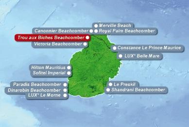 Detailkarte von Mauritius mit Lageangabe 5-Sterne Hotel Trou aux Biches Beachcomber Golf Resort und Spa fuer Heiraten im Ausland.