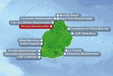 Detailkarte von Mauritius mit Lageangabe des 4-Sterne Victoria Beachcomber Resort und Spa fuer Heiraten im Ausland.