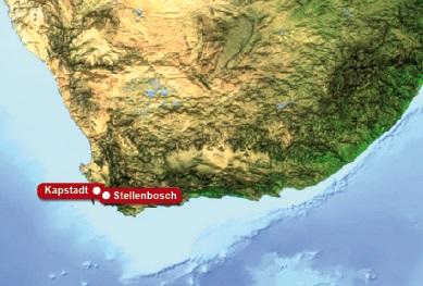 Detailkarte von Suedafrika mit eingezeichneten Hotels fuer Heiraten im Ausland.