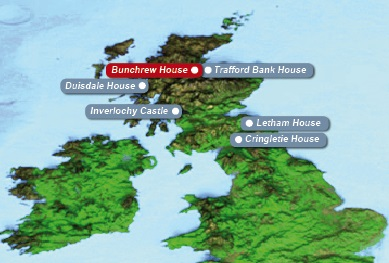 Detailkarte von Schottland mit eingezeichnetem Hotel Bunchrew House fuer Heiraten im Ausland.