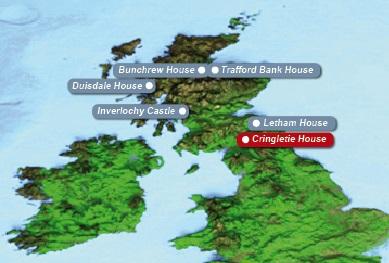 Detailkarte von Schottland mit eingezeichnetem 4-Sterne Cringletie House Hotel fuer Heiraten im Ausland.
