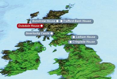 Detailkarte von Schottland mit eingezeichnetem Hotel Duisdale House fuer Heiraten im Ausland.
