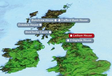 Detailkarte von Schottland mit eingezeichnetem Guesthouse Letham House Hotel fuer Heiraten im Ausland.