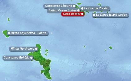 Detailkarte der Seychellen mit eingezeichnetem Hotel Coco de Mer fuer Heiraten im Ausland.