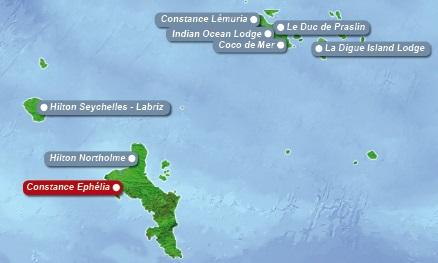 Detailkarte der Seychellen mit eingezeichnetem Hotel Constance Ephelila fuer Heiraten im Ausland.
