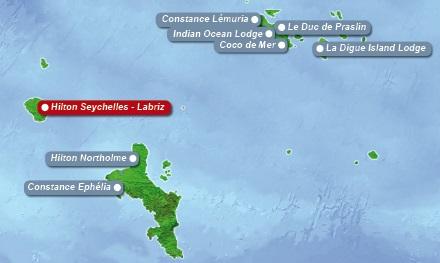 Detailkarte der Seychellen mit eingezeichnetem Hotel Hilton Labriz fuer Heiraten im Ausland.