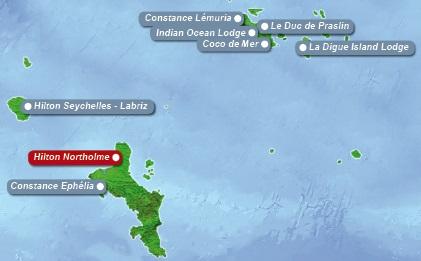 Detailkarte der Seychellen mit eingezeichnetem Hotel Hilton Northolme fuer Heiraten im Ausland.